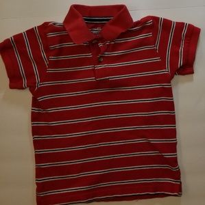 Red and black polo shirt
